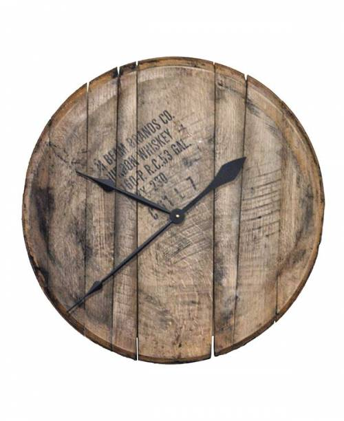 Reclaimed Bourbon Barrel Head Wall Clock Whiskeymade