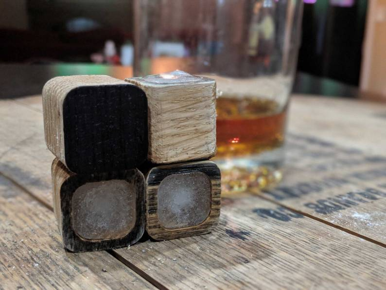 Whiskey Stones With Char made from Bourbon Barrels