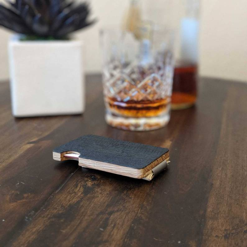 Whiskey Wood Hard Wallet made from Bourbon Barrels