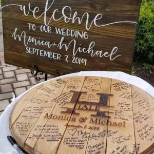 Elegant Large Letter Rustic Wedding Guest Book Alternative Signed Angled