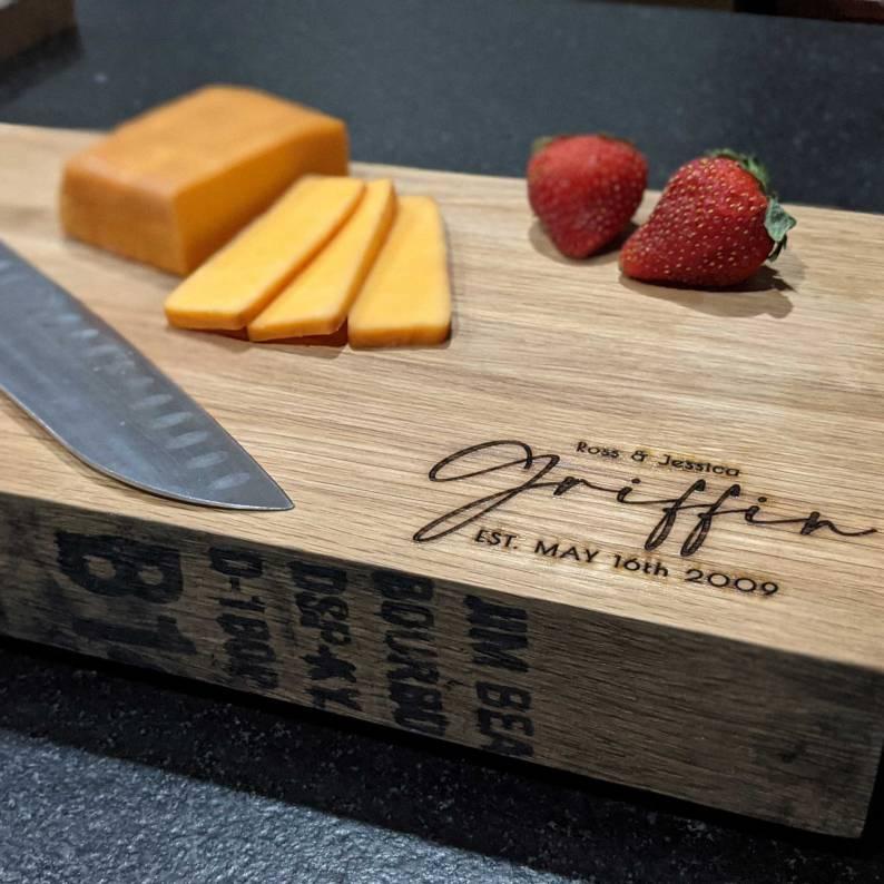Personalized Bourbon barrel Cutting Board