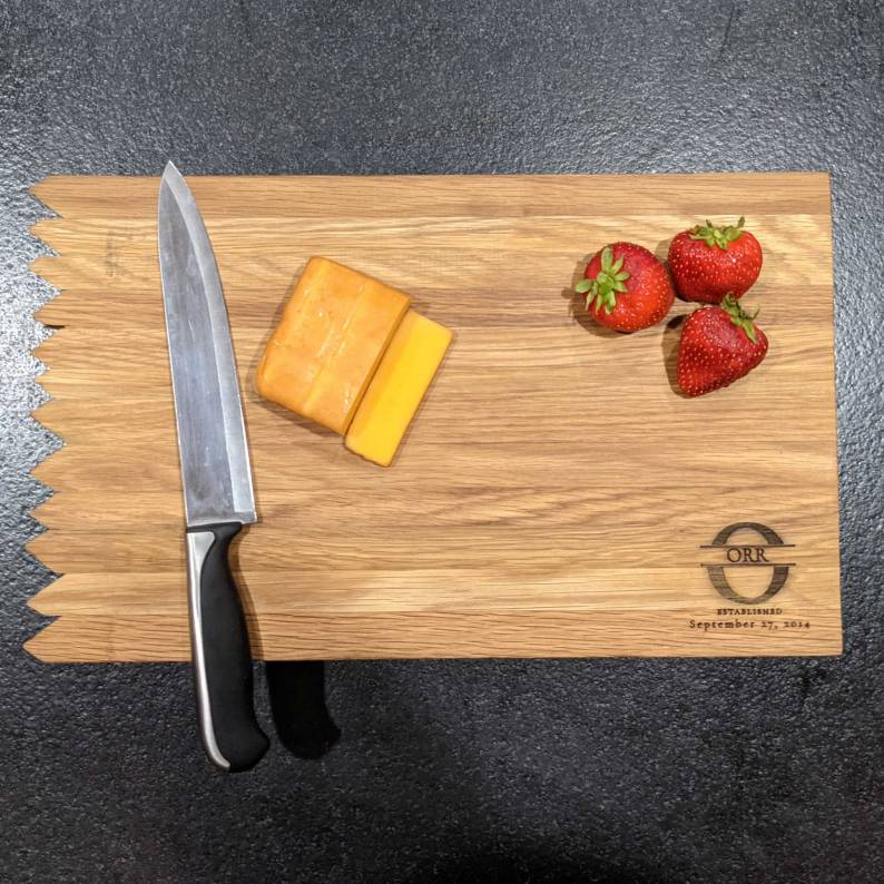 17 inch personlaized bourbon barrel cutting board