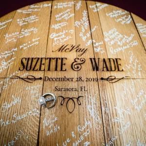 Bourbon Barrel Head Wedding Guest Book