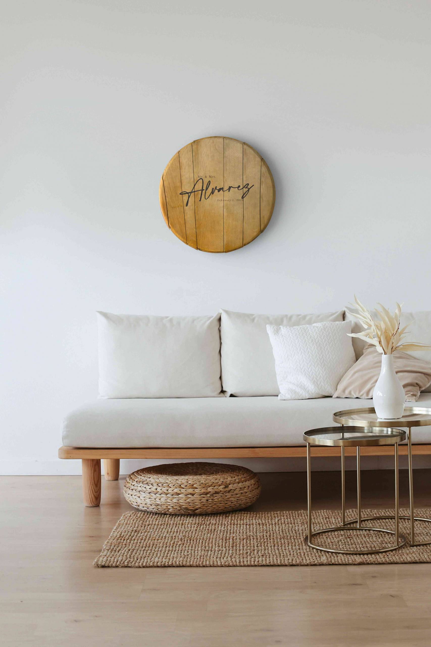 Whiskey Barrel Head Hanging in Living Room