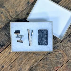 Gentleman's Recycled Bourbon Barrel Gift Set (Tie Clip, Cuff Links, Money Clip)