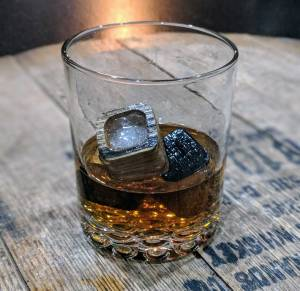Charred Whiskey Ice Stones Made from Recycled Bourbon Barrels